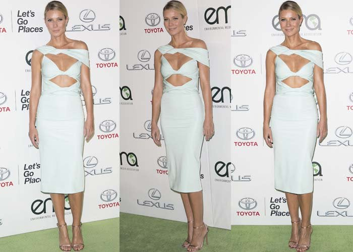 Gwyneth Paltrow shows off her Cushnie et Ochs dress on the green carpet of the Environmental Media Awards