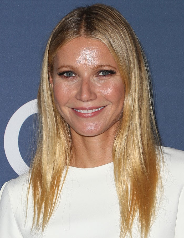 Gwyneth Paltrow's straight blonde locks fall down naturally to her shoulders