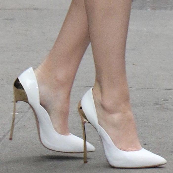 Hailee Steinfeld rocked white Casadei heels