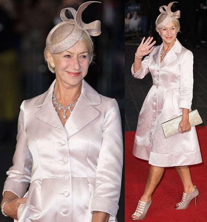Helen Mirren accessorized with a luxurious diamond and pearl necklace