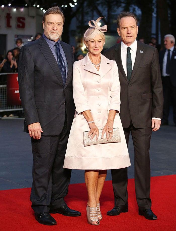 "John Goodman, Helen Mirren, and Bryan Cranston attend the Accenture Gala Screening of ""Trumbo"" during the BFI London Film Festival"