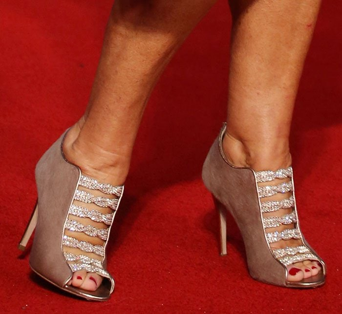 """Helen Mirren displayed her toes in """"Cristina"""" booties from Gina's Fall/Winter 2015 collection"""