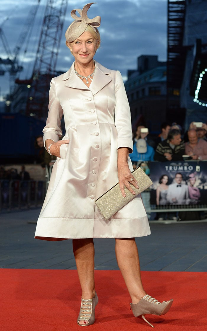Helen Mirren shows off her jeweled booties from Gina