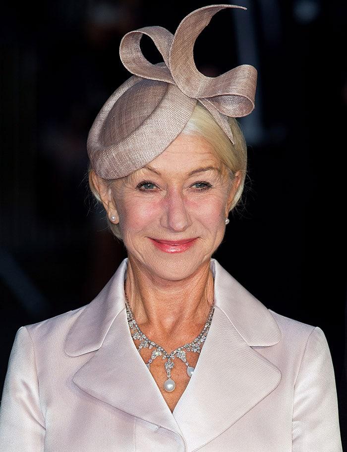 Helen Mirren wore a cocktail hat by Rachel Black Millinery