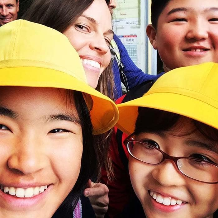 Hilary Swank shares an adorable selfie with Japanese kids she met in Tokyo
