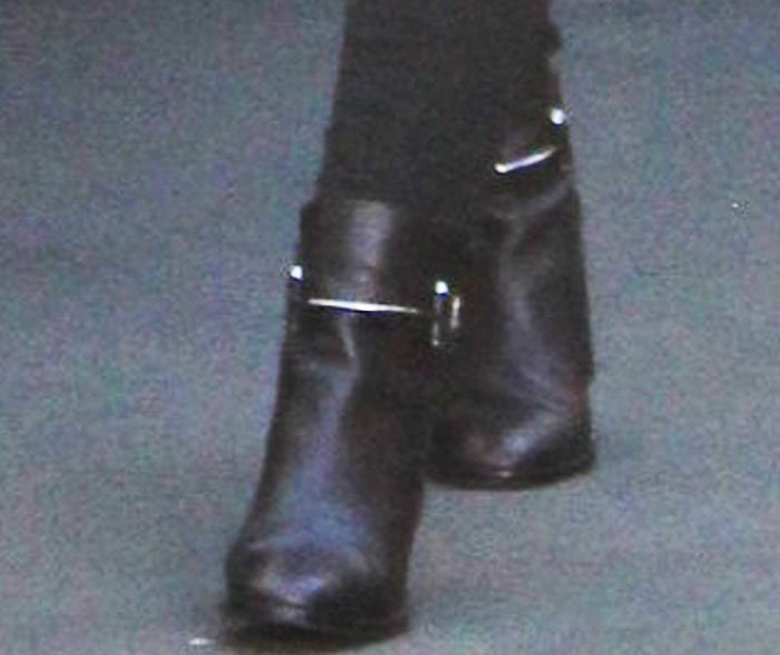 Iggy Azalea finishes her ensemble with a pair of Balenciaga boots on her feet