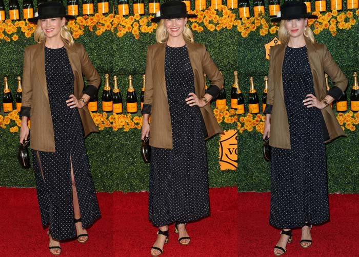 January Jones wears a polka dot dress from Zimmermann and a Reformation blazer on the red carpet of the Veuve Clicquot Polo Classic