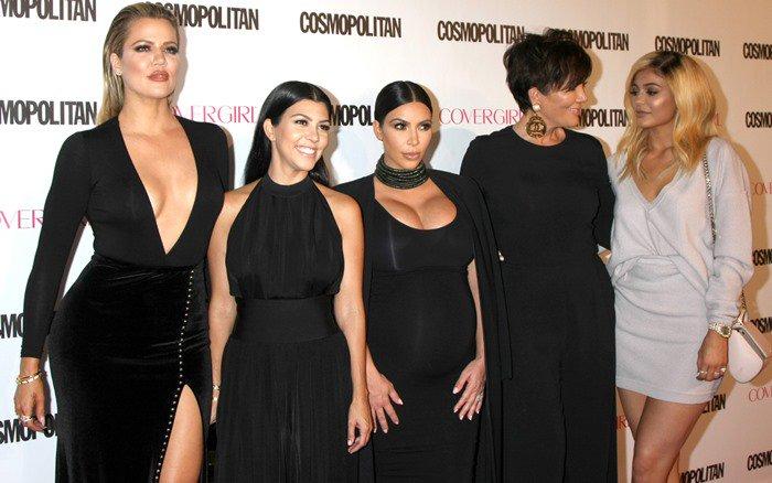 Khloe Kardashian, Kourtney Kardashian, Kim Kardashian, Kris Jenner, and Kylie Jenner at Cosmopolitan's 50th Birthday Celebration at Ysabel in West Hollywood on October 12, 2015