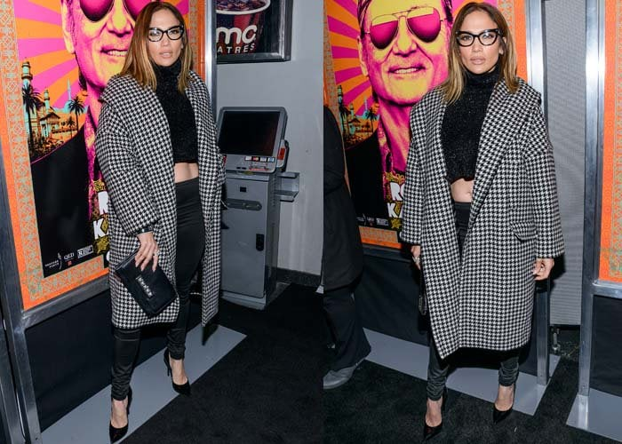 Jennifer Lopez wore a Palchi houndstooth print wool & cashmere hooded coat