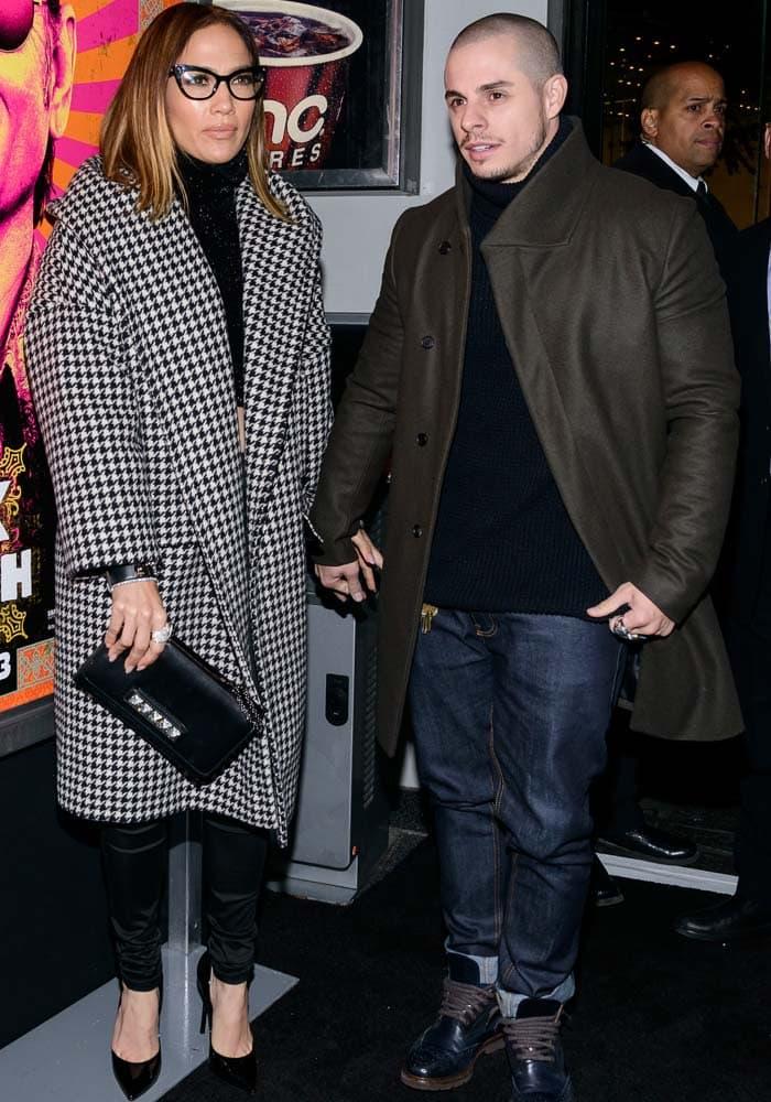 Jennifer Lopez and boyfriend Casper Smart at the premiere of Rock the Kasbah