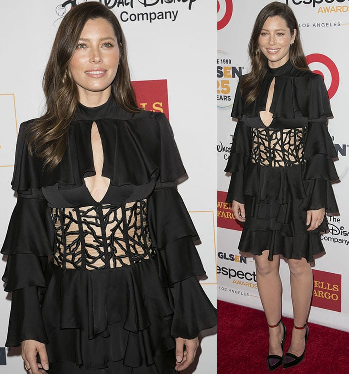 Jessica Biel wears her dark hair down in curls on the red carpet
