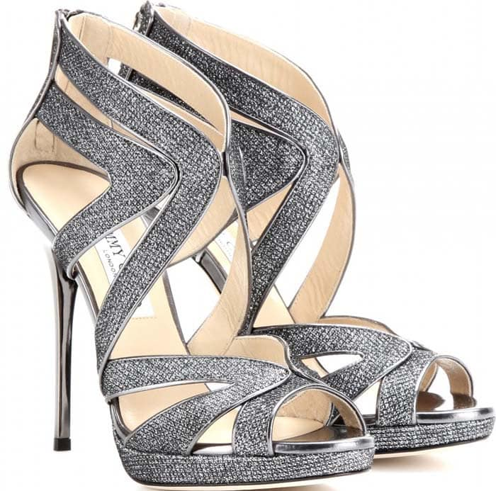 Jimmy Choo Collar Glitter Sandals