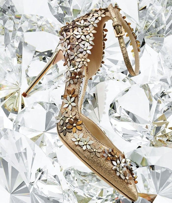 Jimmy Choo Lorelai Glittered Applique Half-d'Orsay Pump