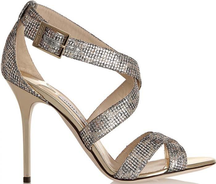 "Jimmy Choo ""Lottie"" Glitter Fabric Sandals"