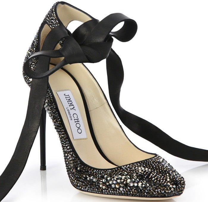 Jimmy Choo Silver Rosana Swarovski Crystal & Leather Ankle Tie Pumps