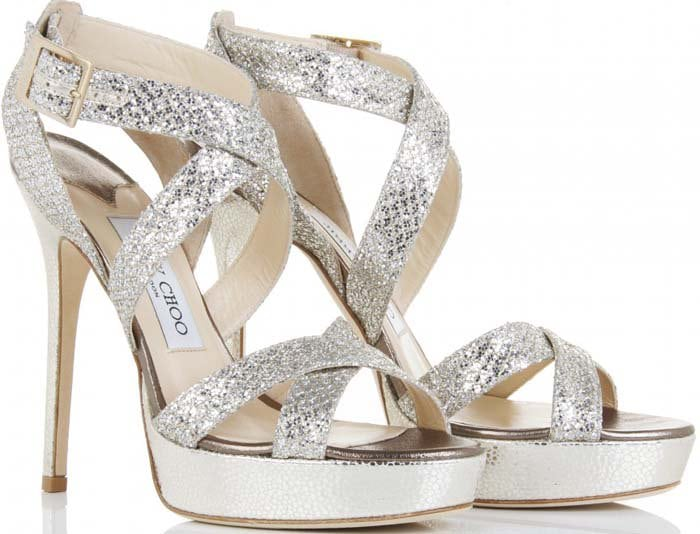 """Jimmy Choo """"Vamp"""" Sandals in Silver Fabric"""