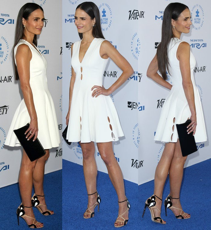 Jordana Brewster's hot legs in a sexy white mini dress
