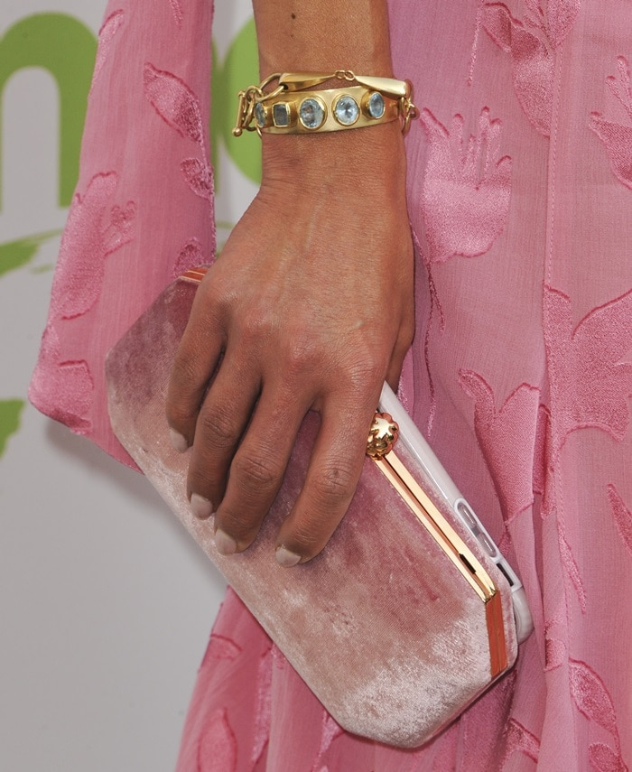 Jordana Brewster's pink velvet clutch and jewelry