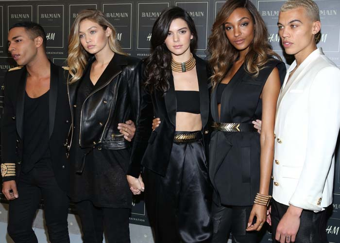 Jourdan Dunn, Kendall Jenner, Olivier Rousteing, Dudley O'Shaughnessy, and Gigi Hadid
