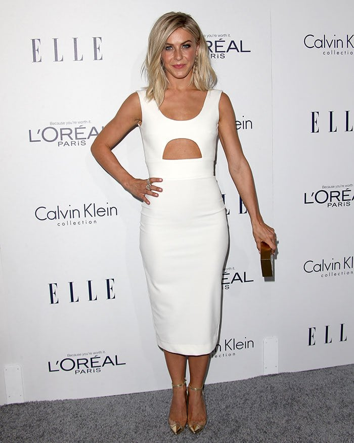 Julianne Houghlooked chic and poised in a crisp white sleeveless dress featuring a cutout detail on the stomach