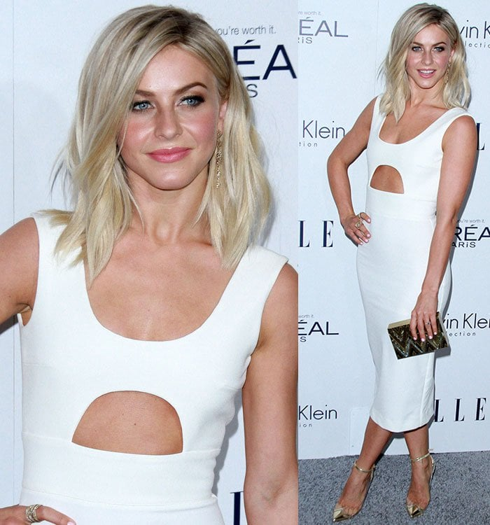 Julianne Hough styled her dress with H. Stern snowflake diamond drop earrings and a few rings and carried a black-and-gold chevron Emm Kuo minaudiere