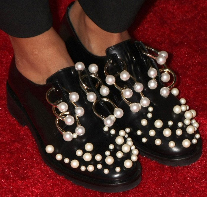 Kat Graham shows off herColiac Martina pearl-embellished Derby shoes