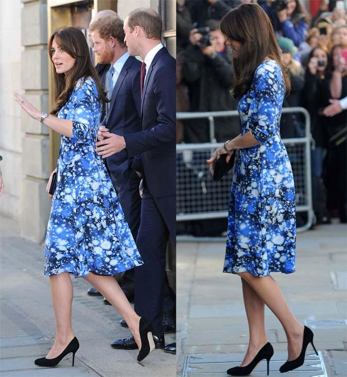 Kate Middleton flaunts her legs in a printed dress by UK designer Tabitha Webb