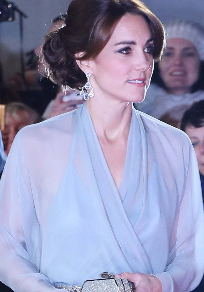 """Kate Middleton wears her hair in an updo for the world premiere of """"James Bond: Spectre"""" held October 26, 2015, in London"""