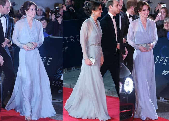 """Kate Middleton wears a Jenny Packham dress on the red carpet of the """"Spectre"""" premiere"""