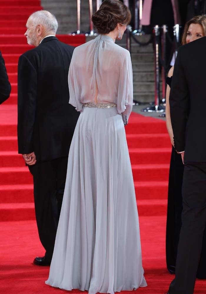 Kate Middleton shows off the sheer back of her Jenny Packham dress