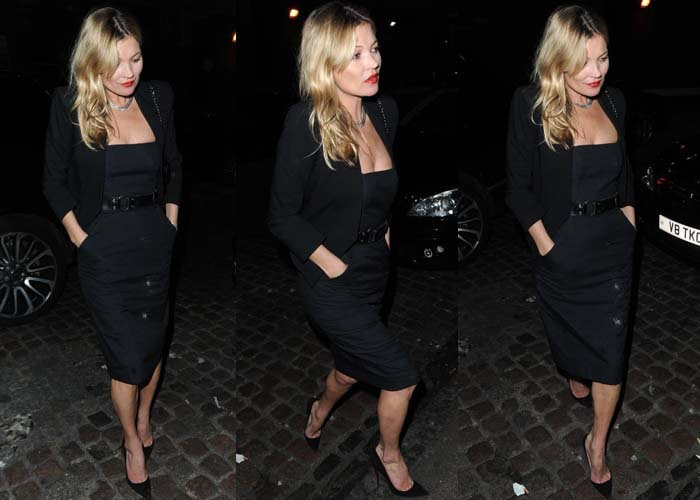 Kate Moss wears an all-black outfit as she steps out in London