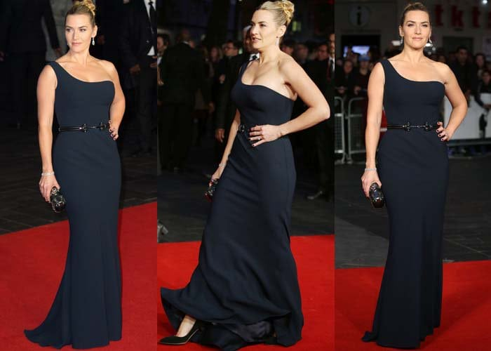 "Kate Winslet wears a navy Alexander McQueen dress on the red carpet of the ""Steve Jobs"" premiere"