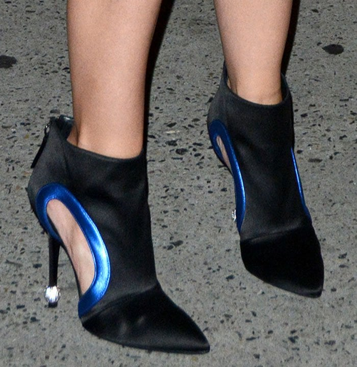 Katie-Holmes-Satin-Cutout-Booties-Crystal-Ball-Heels