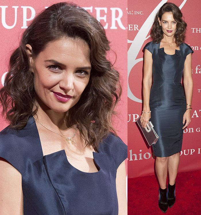 Katie-Holmes-Zac-Posen-Dress-Roger-Vivier-Booties