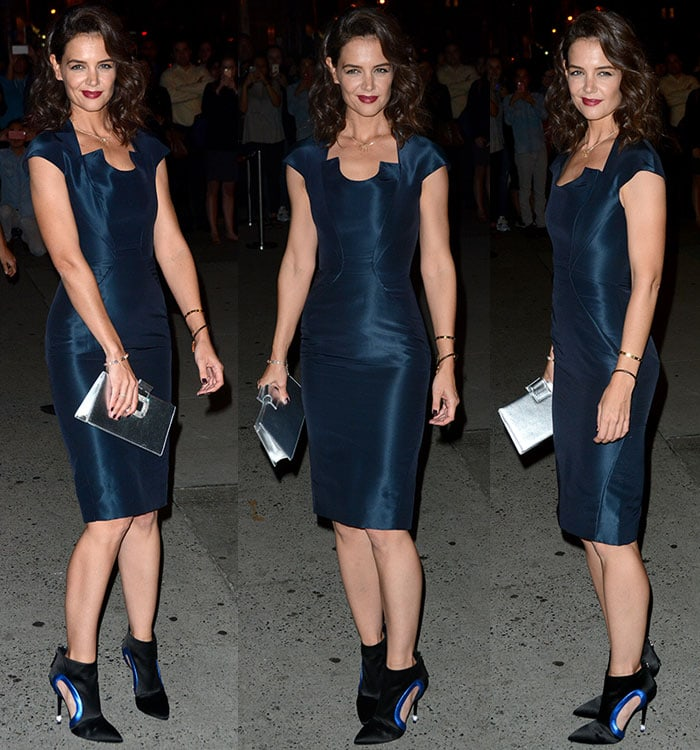 Katie-Holmes-curves-Zac-Posen-dress-Roger-Vivier-Booties