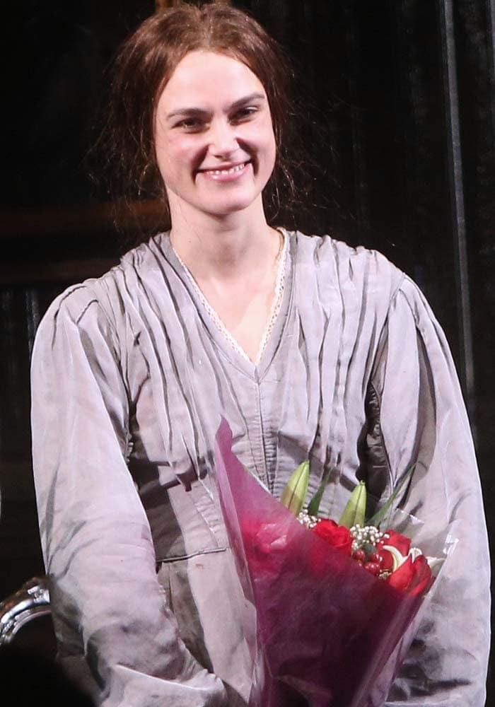 Keira Knightley celebrates opening night of her latest Broadway production