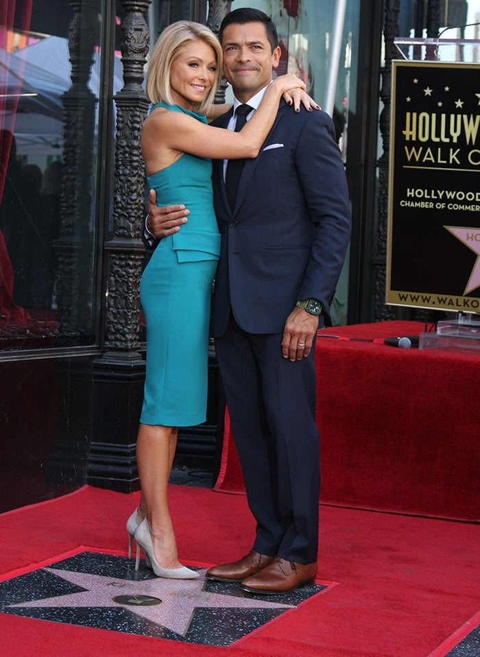 Kelly Ripa with family and friends at the Hollywood Walk of Fame Star Ceremony in Los Angeles on October 12, 2015