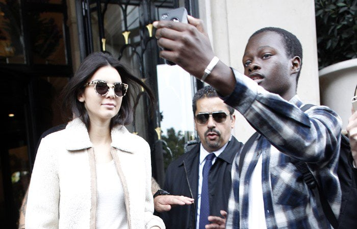 Kendall Jenner wearing Komono sunglasses while leaving her hotel