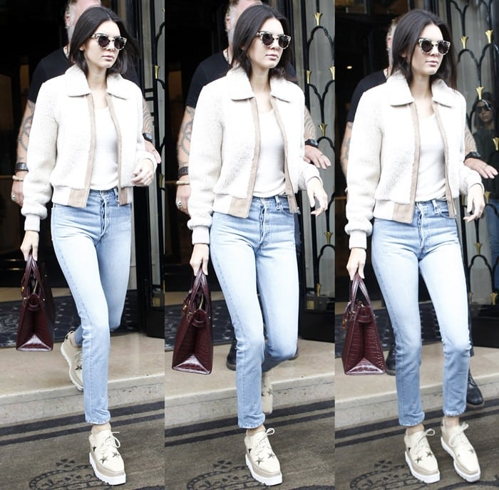 Kendall Jenner completes her casual outfit with a pair of Stella McCartney Oxford shoes on her feet