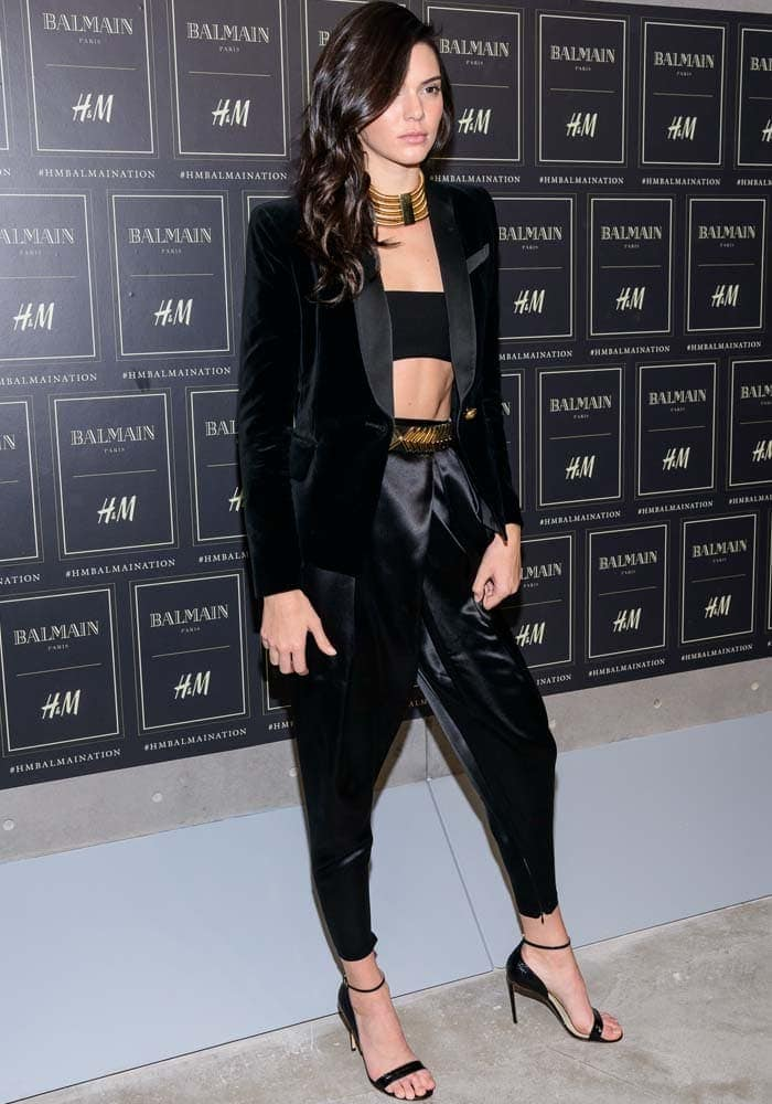 Kendall Jenner rocked a black bandeau with loose pants