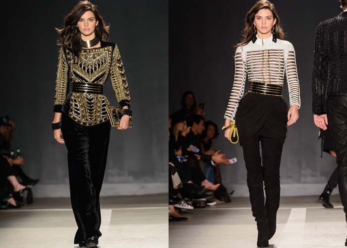 Kendall Jenner walks the runway at the Balmain x H&M collection launch