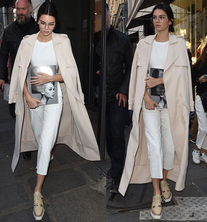 Kendall Jenner with a Sally Lapointe trench coat draped over her shoulders