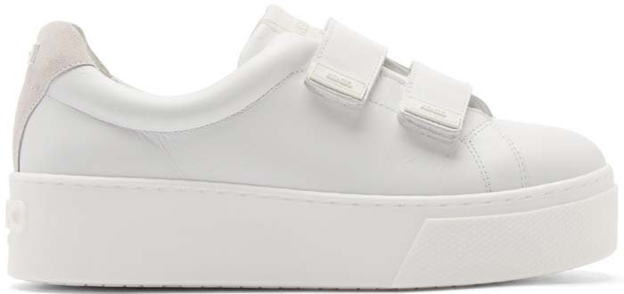 Kenzo White Leather Velcro Platform Sneakers