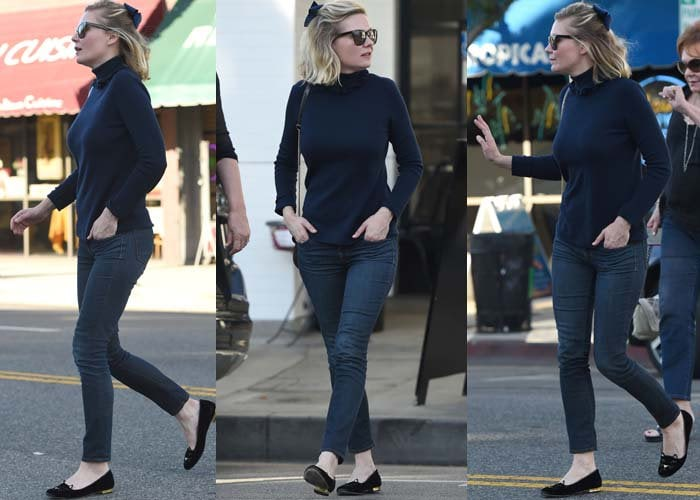 """Kirsten Dunst rocked denim jeans with Charlotte Olympia's """"Kitty"""" flats"""