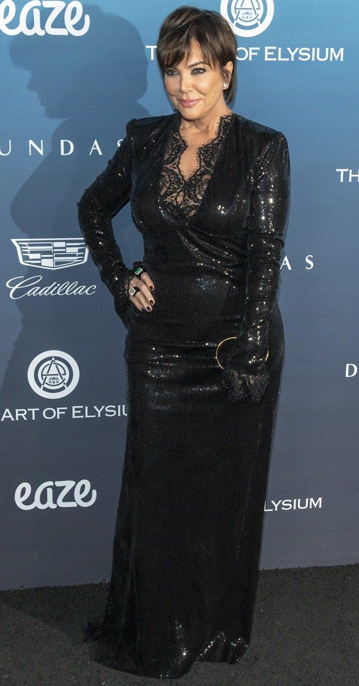 Kris Jenner's black sequin and lace Dundas dressat the Art of Elysium event in Los Angeles on January 5, 2019