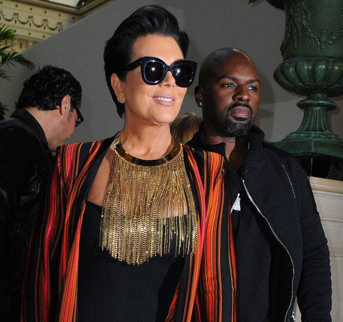 Kris Jenner and Corey Gamble attend the Balmain show as part of the Paris Fashion Week Womenswear Spring/Summer 2016 in Paris, France on October 1, 2015