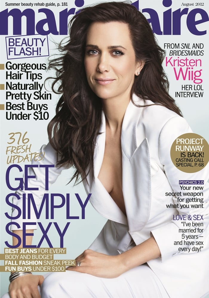 Kristen Wiig shows sideboob in a Tom Ford suit on the cover of Marie Claire's August 2012 issue