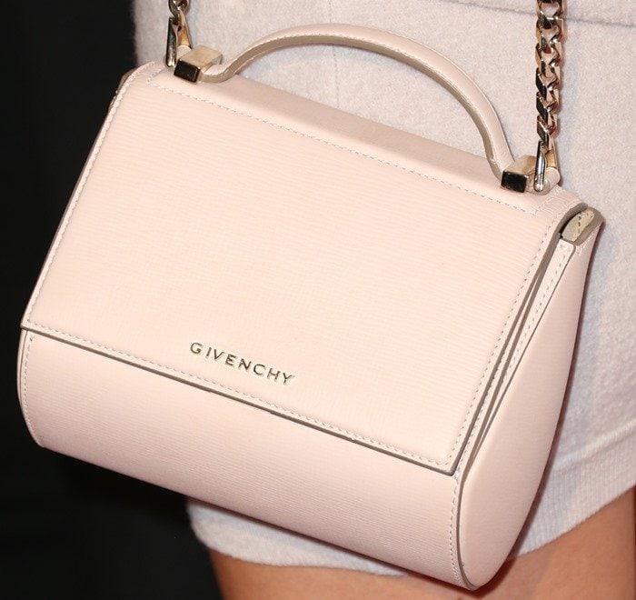 "Kylie Jenner totinganude ""Pandora"" mini leather shoulder bag from Givenchy"