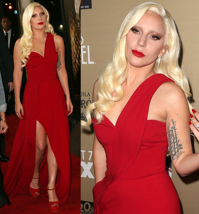 Lady Gaga in a red Brandon Maxwell dress and red Brian Atwood sandals at the premiere of 'American Horror Story: Hotel' in Los Angeles on October 3, 2015