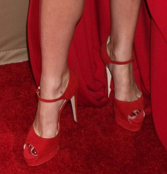 Lady Gaga wearing red Brian Atwood sandals